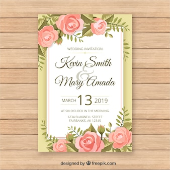 Vintage wedding card template with floral style