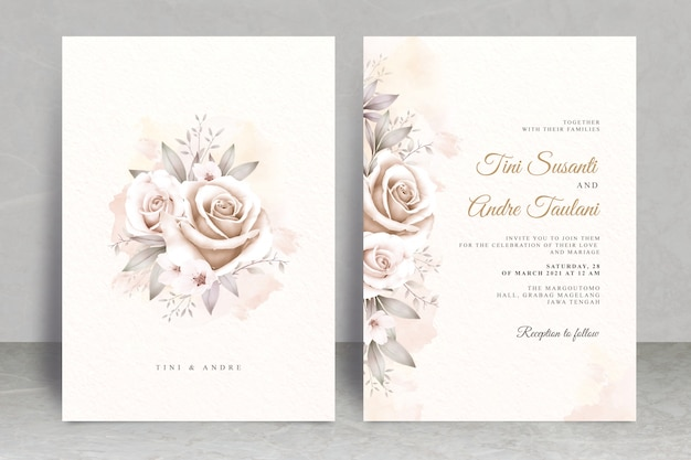 Vintage wedding card template with floral watercolor