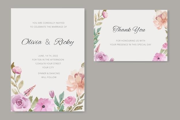 Винтажный шаблон свадебной открытки с цветочной акварелью