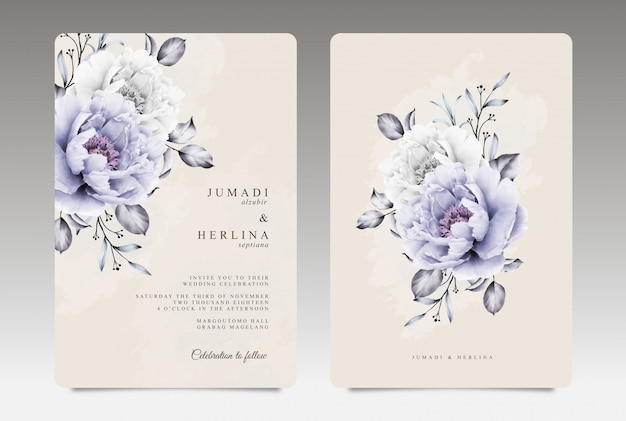 Vintage wedding card template with purple and white peony aquarel