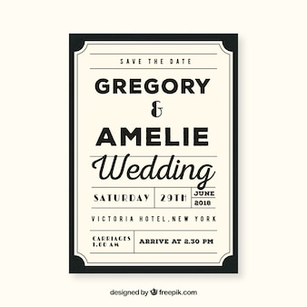 Vintage wedding card template with retro style