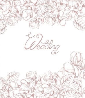꽃 라인 아트와 빈티지 웨딩 카드