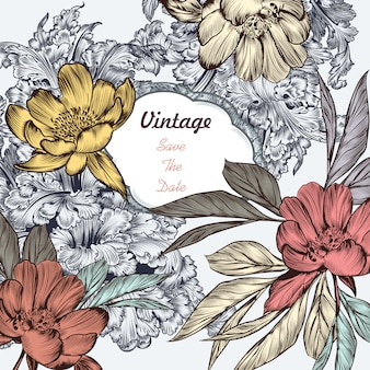 Vintage wedding card with flowers