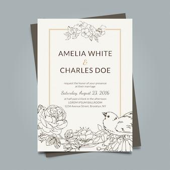Vintage invito a nozze con fiori disegnati a mano
