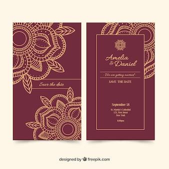 ビンテージウェディングカード、マンダラ