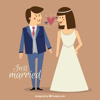 Урожай свадьбы пара только что женился