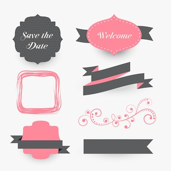Vintage wedding decoration elements collection