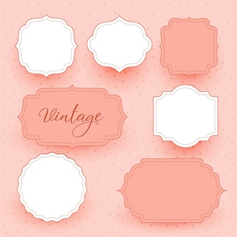 Vintage wedding empty frames labels design background