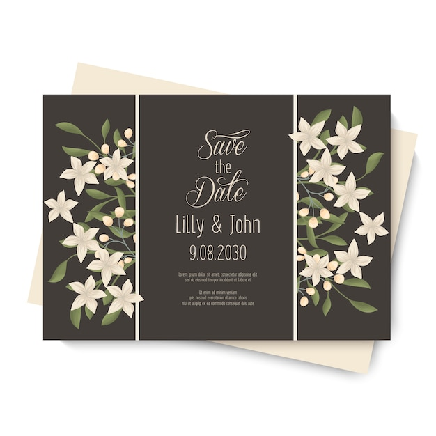 Vintage wedding flower card