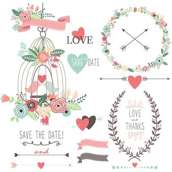 Винтажные свадебные цветы и птичья клетка
