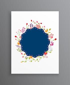 Vintage wedding flowers invitation card