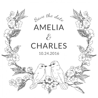 鳥カップルとヴィンテージの結婚式のフレーム