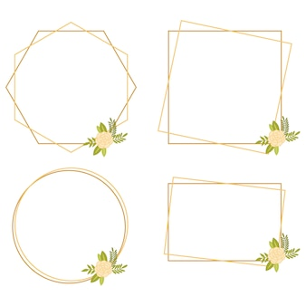 Vintage wedding geometric floral frames collections