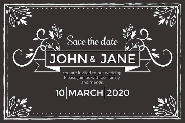 Vintage wedding invitation  on blackboard template