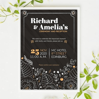 Vintage wedding invitation on blackboard template