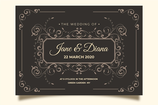 Vintage wedding invitation on brown background