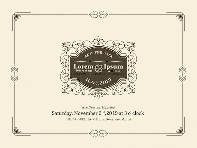 ヴィンテージ結婚式招待状の枠の枠とフレームのデザインテンプレート