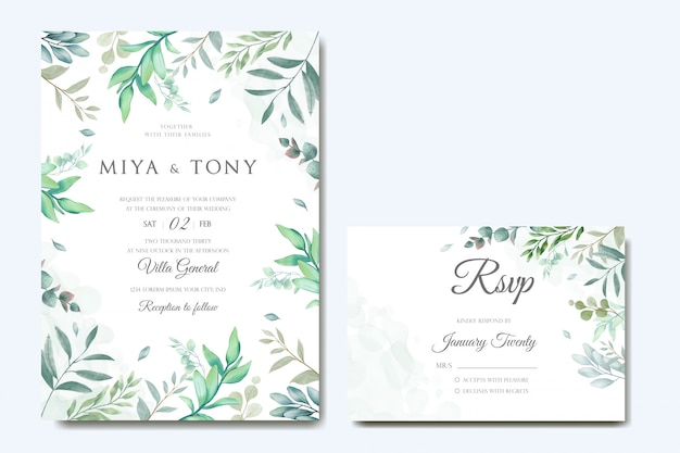 Vintage wedding invitation card & reservation card with leaves bundle