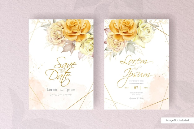 Vintage wedding invitation card set template with hand drawn flower and leaves