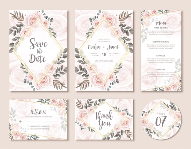 Vintage wedding invitation card set with beautiful watercolor floral rose flowers