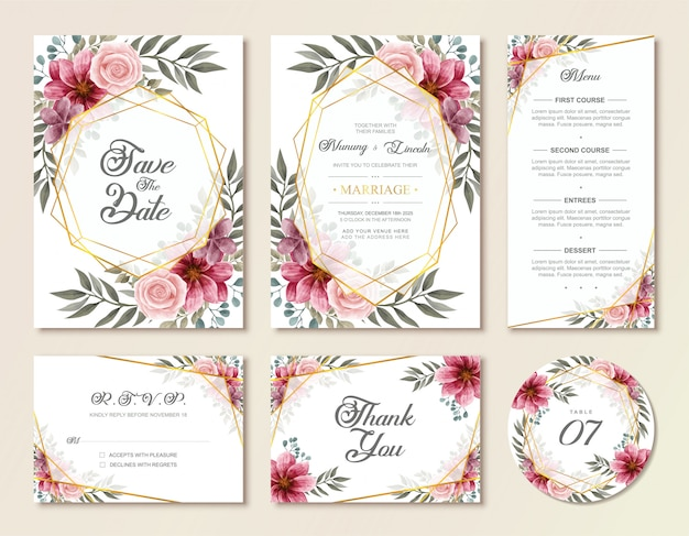 Vintage wedding invitation card set with watercolor floral flowers