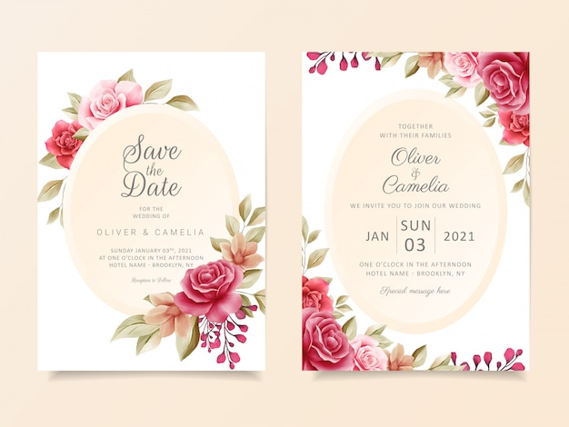 Vintage wedding invitation card template set with elegant modern floral frame