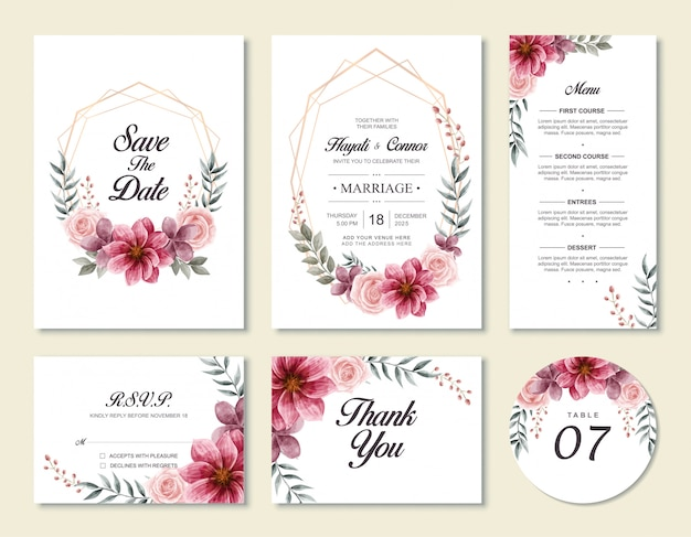 Vintage wedding invitation card template set with watercolor floral flowers style