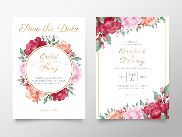 Vintage wedding invitation card template set with watercolor roses and peonies flowers