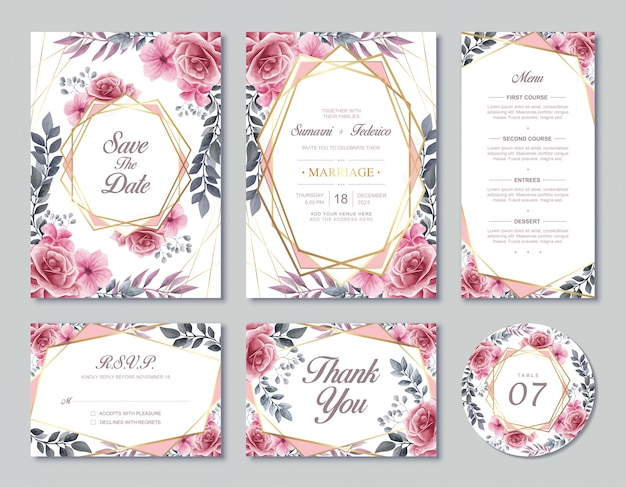 Vintage wedding invitation card template  watercolor floral flowers style with rsvp menu and table number