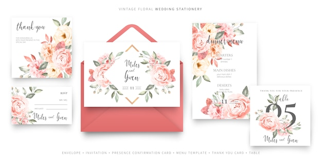 Vintage wedding invitation card template with envelope collection