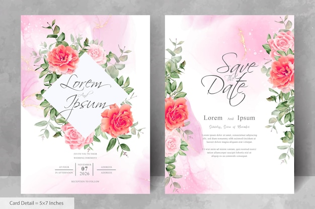 Vintage wedding invitation card template with floral and alcohol ink background