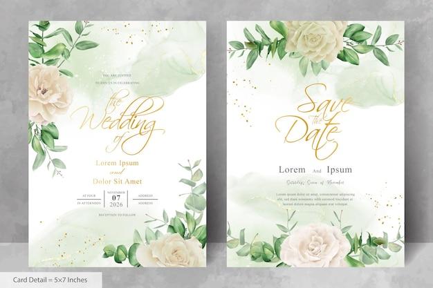 꽃과 알코올 잉크 배경으로 빈티지 결혼식 초대 카드 템플릿 프리미엄 벡터