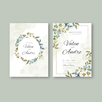 Vintage wedding invitation card template with leaves background and golden frame