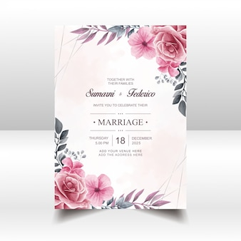 Vintage wedding invitation card template with watercolor floral flowers