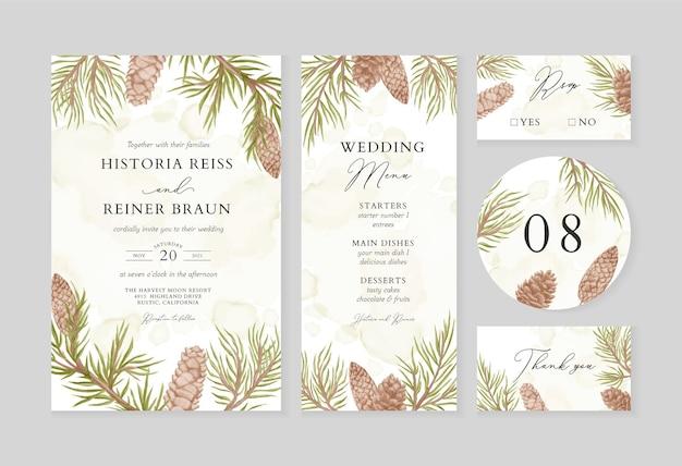 水彩花のフレームとヴィンテージの結婚式の招待カードテンプレート