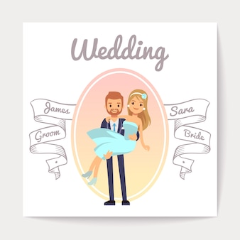 Vintage wedding invitation card vector template with happy couple