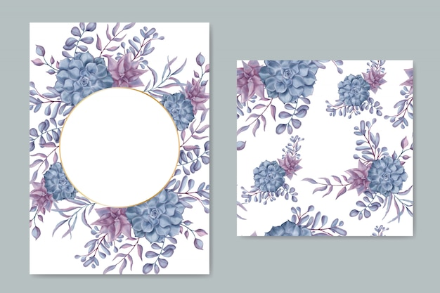 花のフレームのシームレスなパターンを持つヴィンテージの結婚式の招待カード