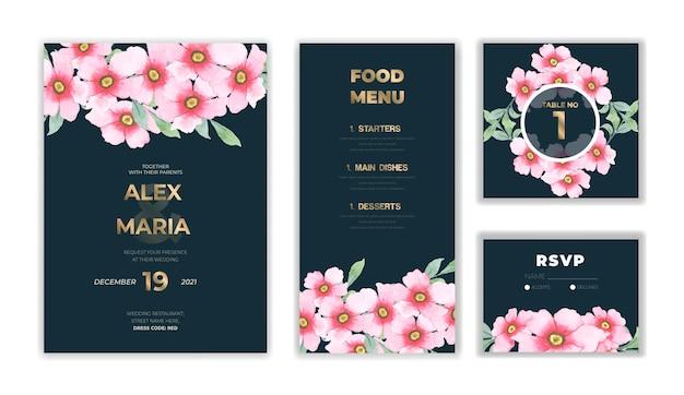 花と葉とヴィンテージの結婚式の招待カード