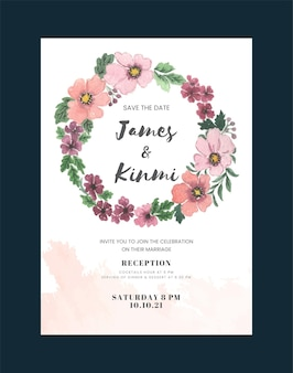 Vintage wedding invitation card with flower and leaves