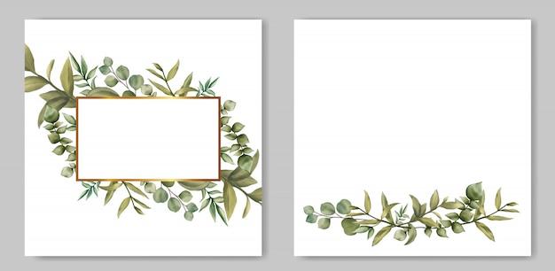葉の束とビンテージのウェディング招待状