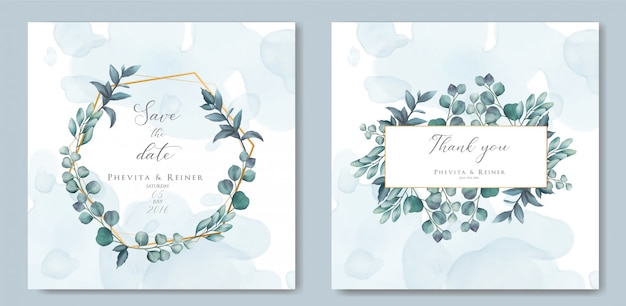 Vintage wedding invitation card with leaves and gold frame