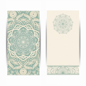 Vintage wedding invitation card with mandala pattern, floral mandala pattern and ornaments. oriental design .
