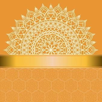 Vintage wedding invitation card with mandala pattern