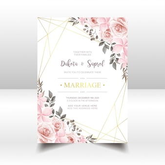 Vintage wedding invitation card with watercolor floral and golden frame