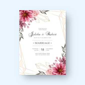Vintage wedding invitation card with watercolor flower decoration