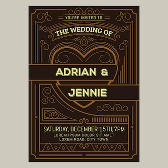 Vintage wedding invitation card