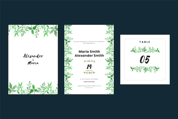 Vintage wedding invitation cards with leaves