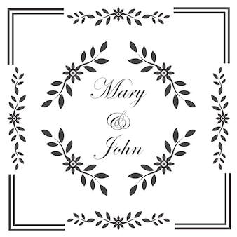 Vintage wedding invitation frame