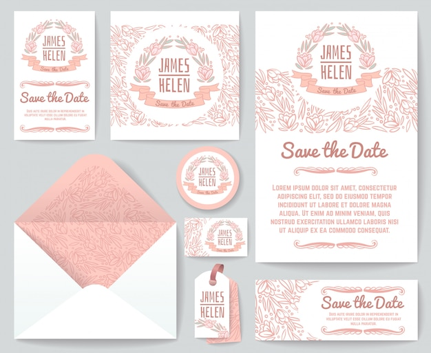 Vintage wedding invitation greeting cards vector template with hand drawn rustic floral elements and flowers