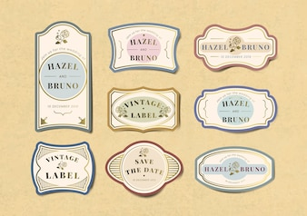 Vintage wedding invitation label vector set